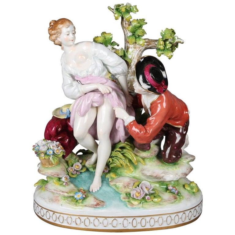 Antique German Meissen School Hand-Painted Porcelain Erotic Figural Group