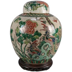 Antique Chinese Ginger Jar on Carved Rosewood Stand, Garden Motif