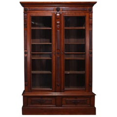 Classical Burl Walnut Two-Drawer Locking Bookcase with Lion Head Reserves