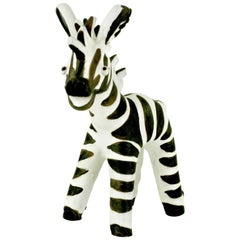 Austrian Midcentury Black and White Glazed Ceramic Zebra by Leopold Anzengruber