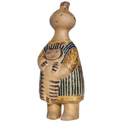 "1950s ""Stina with Cat"" by Lisa Larson Gustavsberg Sweden Figure Pottery"
