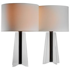Large Pair of Plexiglass Cruciform Console Lamps, 1960s