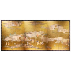 Late 18th Century, Japanese Folding Screen, Picture of Sericulture, Edo Period