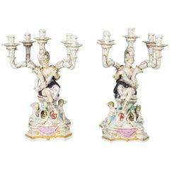 Magnificent Huge Pair Dresden Style Porcelain Five-Light Candelabra
