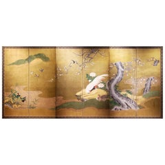 Early 19th Century, Japanese Folding Screen with Birds and Plum Trees Design