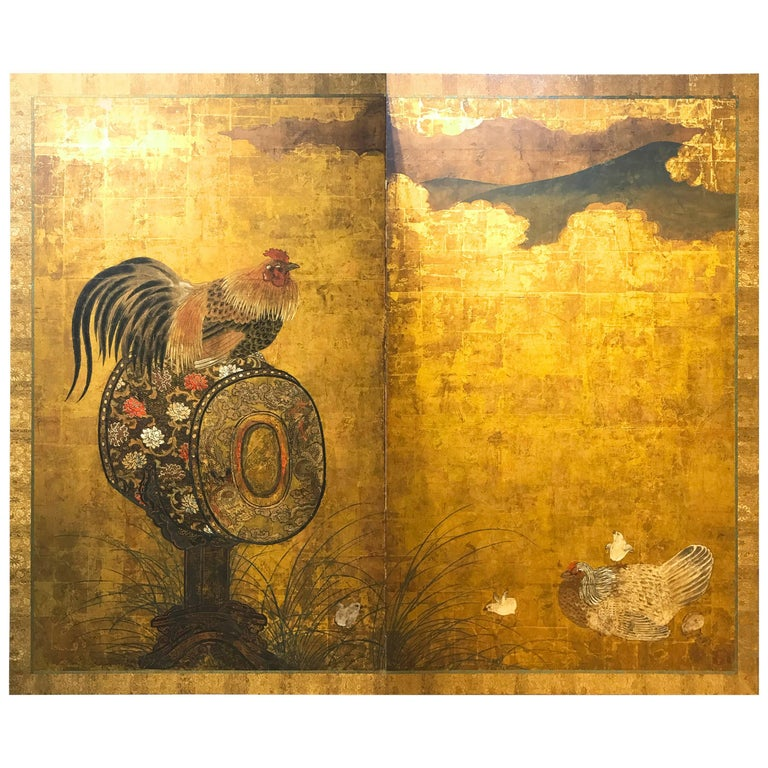 Early 18th Century, Japanese Folding Screen with Cock on Drum Design, Edo Period