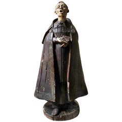 19th Century Italian Painted Ceramic Figure of a Chanting Monk