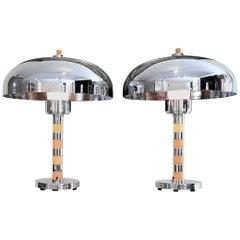 Art Deco Original Pair of Dome Table Lamps