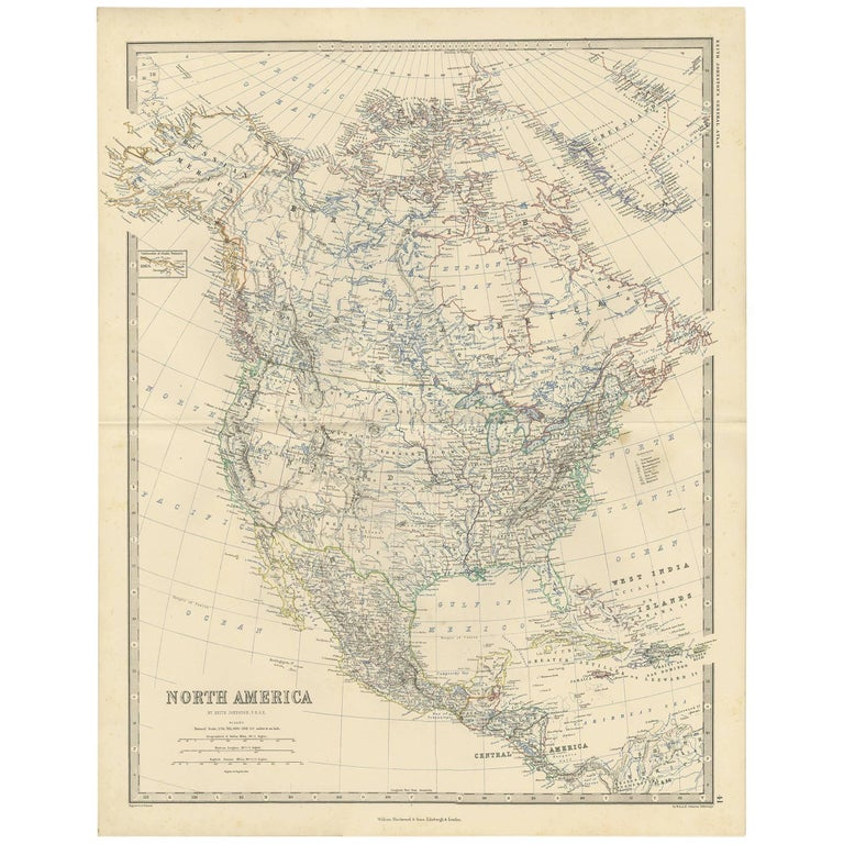 Antique Map of North America by A.K. Johnston, 1865 For Sale