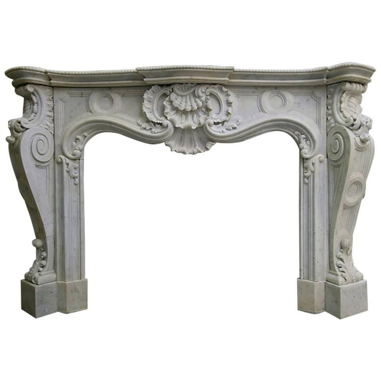 French Antique Louis XV Carrara Marble Fireplace Mantel