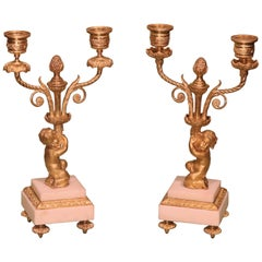 Pair of Mid-19th Century Ormolu Two-Light Candelabra