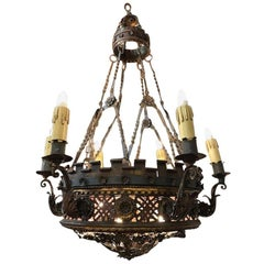 Large English Borique Revival 19th Century Chandelier