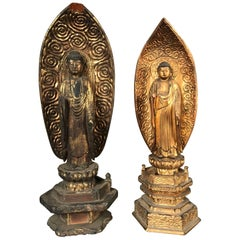 Japan Pair of Old Gold Compassionate Buddhas Ready for Your Home and Shrine