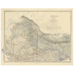 Antique Map of India 'North' by A.K. Johnston, 1865