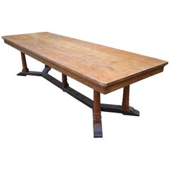 Large Early 20th Century Oak Refectory Dining Table