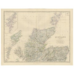 Antique Map of Scotland 'North' by A.K. Johnston, 1865