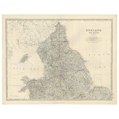 Antique Map of England and Wales 'North' by A.K. Johnston, 1865