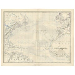 Antique Map of the North Atlantic Ocean by A.K. Johnston, 1865