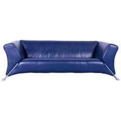 Rolf Benz 322 Leather Sofa Blue Three-Seat