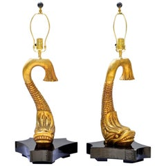 Figural Gilt Wood Neoclassical Table Lamps, a Pair