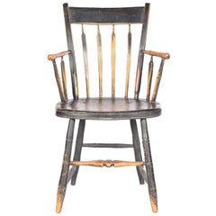 Antique American Windsor Chair with Original Paint, 19th Century