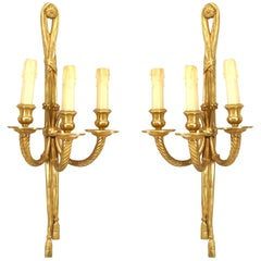 Pair of French Louis XVI Style '20th Century' Three-Light Sconces