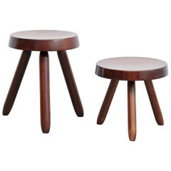 Pair of after Charlotte Perriand, Mid-Century Modern Black Wood, French Stools