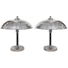 Original Art Deco Pair of Dome Lamps