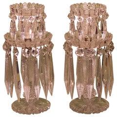 Pair of 19th Century Glass Lustre Candlesticks