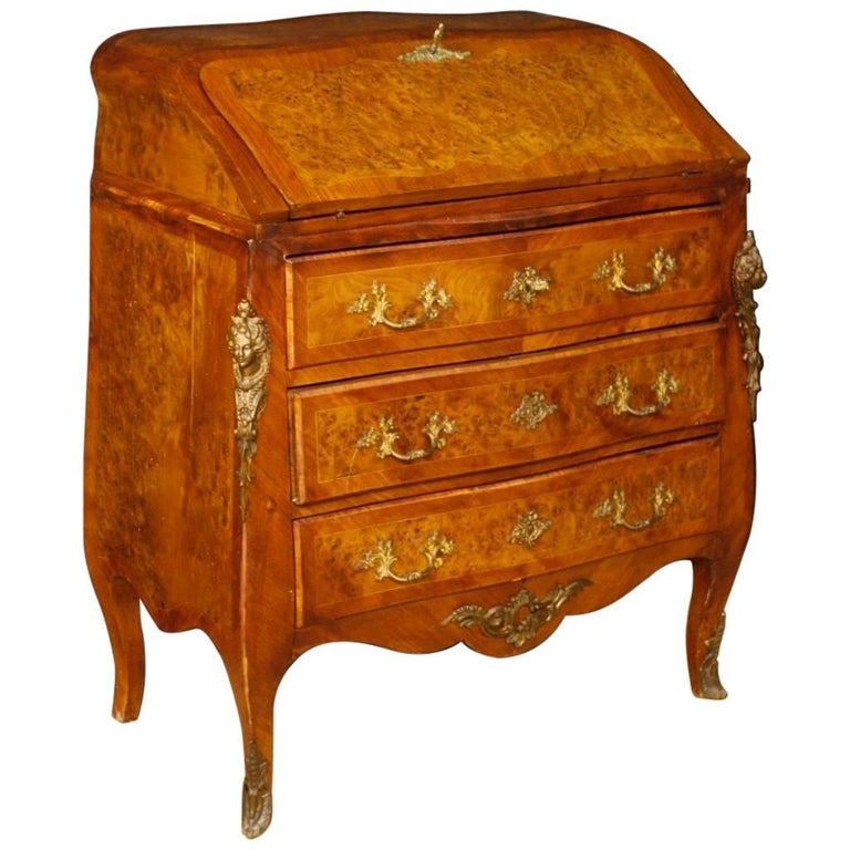 French Inlaid Bureau in Wood in Louis XV Style with Gilt Bronzes, 20th Century