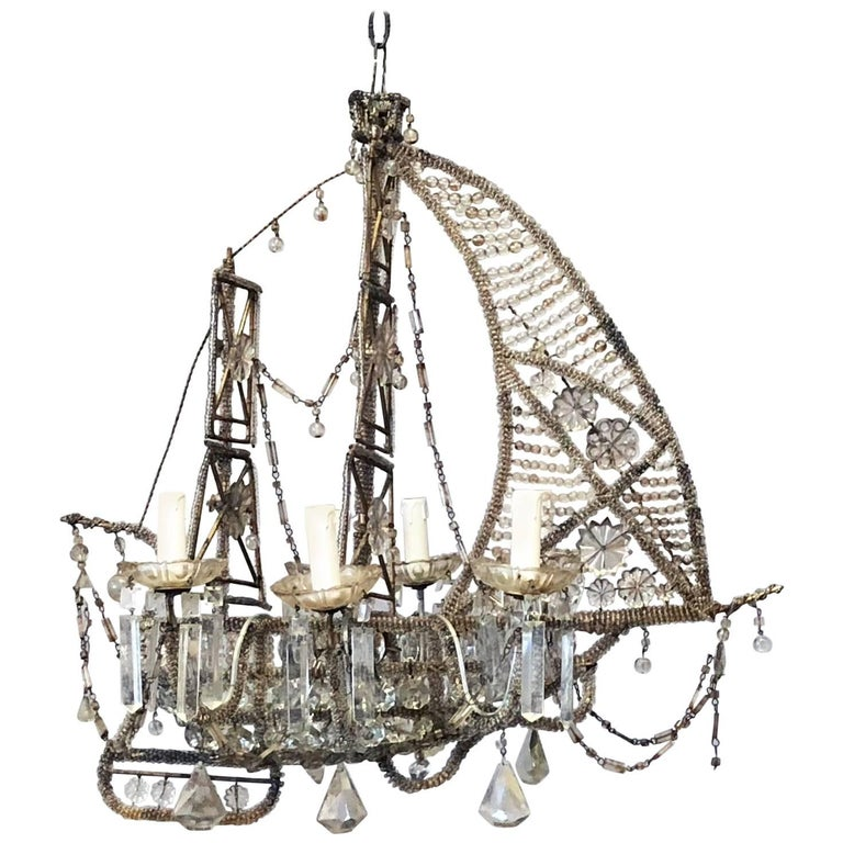 20th Century Crystal Beaded Ship Chandelier by Maison Baguès