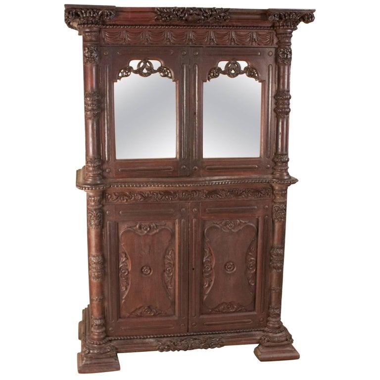 19th Century British Colonial Teak Wood Mirrored Hutch