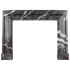 Grand Queen Anne Style Bolection Fireplace in Italian Nero Marquina Marble Nr.2