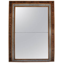19th Century Italian Faux Marble Painted Framed Mirror with Original Glass