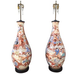 Palatial Pair of 19th Century Japanese Kutani Porcelain Vases as Lamps