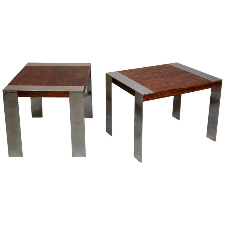 Midcentury Rosewood and Chrome Side Tables by Milo Baughman