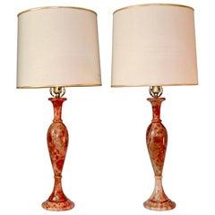 Pair of 1970s Red Alabaster Handmade Italian Lamps