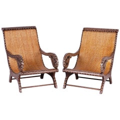 Pair of Anglo-Indian Inlaid Plantation Chairs
