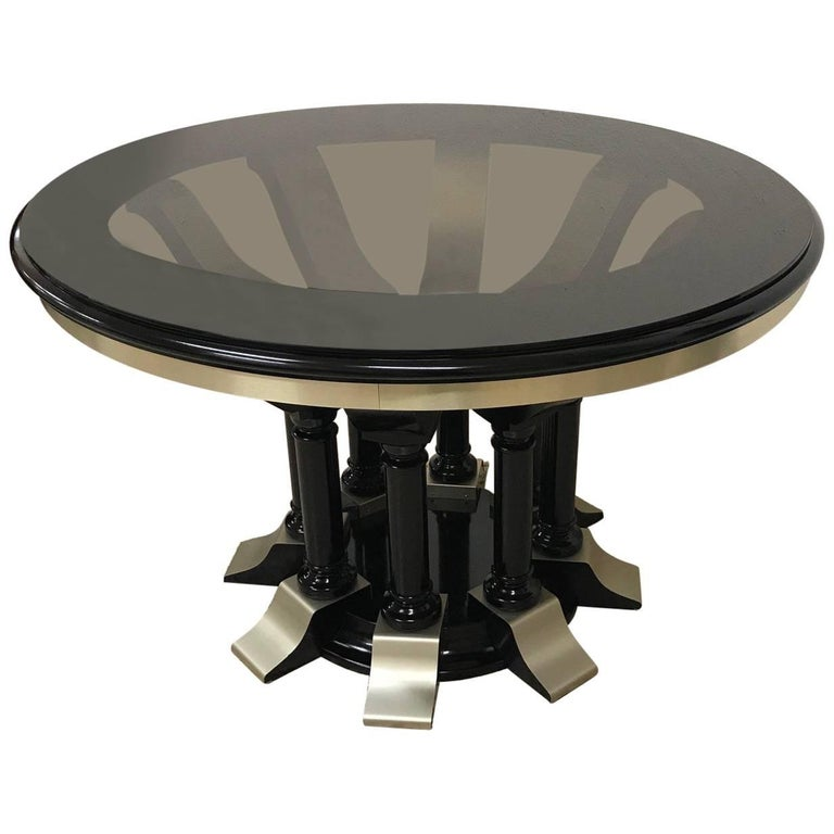 1970s Round Dining Table in Chrome and Black Lacquer