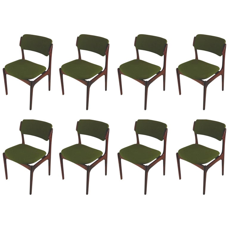 1960s Erik Buch Set of Eight Model 49 Rosewood Dining Chairs For Sale