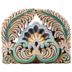 Painted Sandstone Architectural Fragment from India