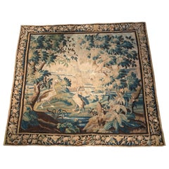 Large 18th Century French Aubusson Verdure Tapestry with Birds and Stream