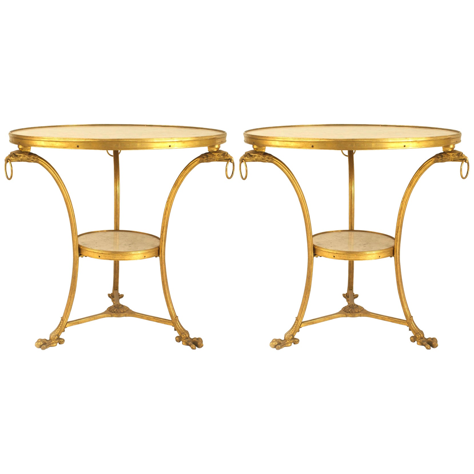 Two French Empire Style Bronze Gueridon End Tables