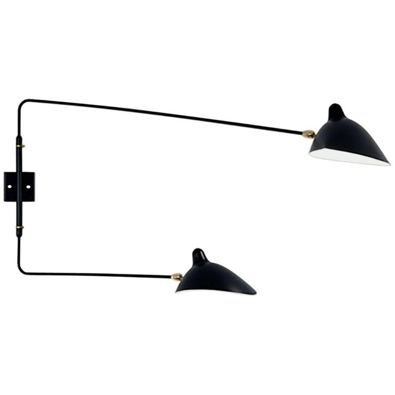 Serge Mouille Brass and Black Aluminium Mid-Century Modern Two Arms Wall Lamp