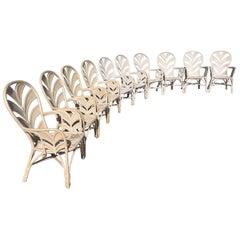 Midcentury Rattan Palm Tree Back Chairs