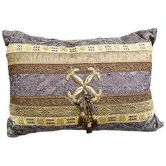 Antique Layered Metallic Lace Trim on Chestnut Silk Pillow by Eleganza Italiana