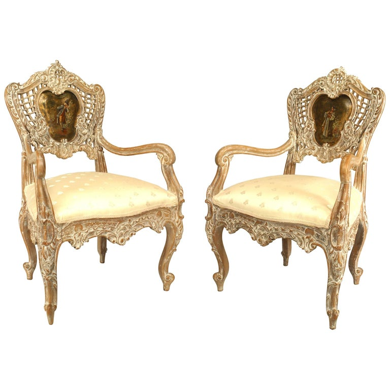 Pair of French Louis XV Style '19th Century' Bleached Arm Open Chairs