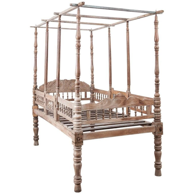 19th Century Rosewood and Teak Bed from Western Rajasthan, India