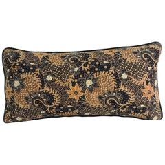 Vintage Black and Gold Batik Textile Bolster Decorative Pillow