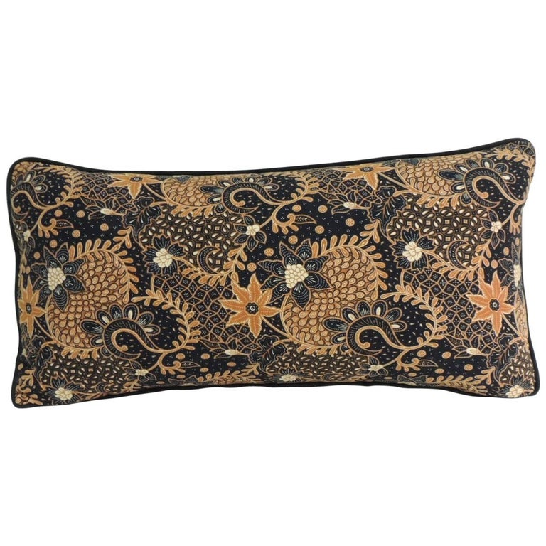 Vintage Black And Gold Batik Textile Bolster Decorative Pillow For Simple Black And Beige Decorative Pillows